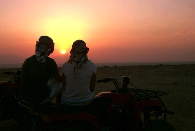 Sunset at Hurghada: Super Safari Tour: Jeep, Quad Bike, Bedouin villages And BBC Dinner with Show